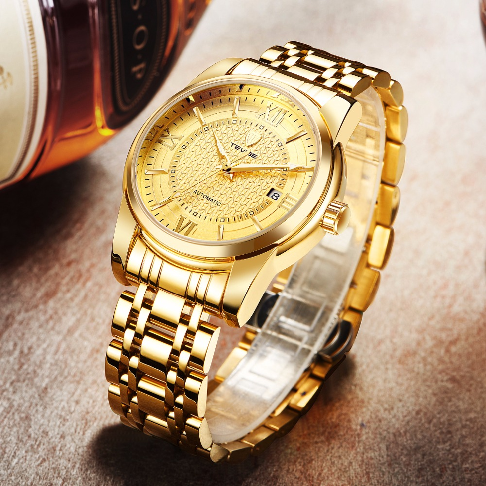 TEVISE Men Automatic Mechanical Self-Wind Watch Gold Stainless Steel Date Fashion Casual Wristwatch T805A with bracelet tool original binger mans automatic mechanical wrist watch date display watch self wind steel with gold wheel watches new luxury