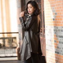 2017 Spring New Female Genuine Leather Jacket In The Long Section Sheep Skin Windbreaker SH6