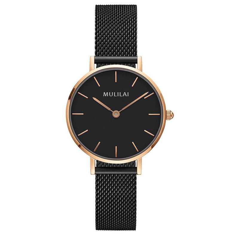 32 мм Роскошные Брендовые женские кварцевые часы со стальным браслетом модные простые женские часы из розового золота dw стиль+ браслет ЖЕНСКИЕ НАРЯДНЫЕ часы - Цвет: All Black