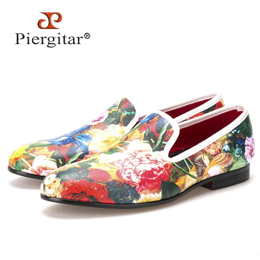Piergitar new style flower and leaf pattern printing white men loafers wedding and party men dress shoes Fashion men's flats 2016 new style handmade white color print gold flower china style men loafers wedding and party men shoes fashion men s flats