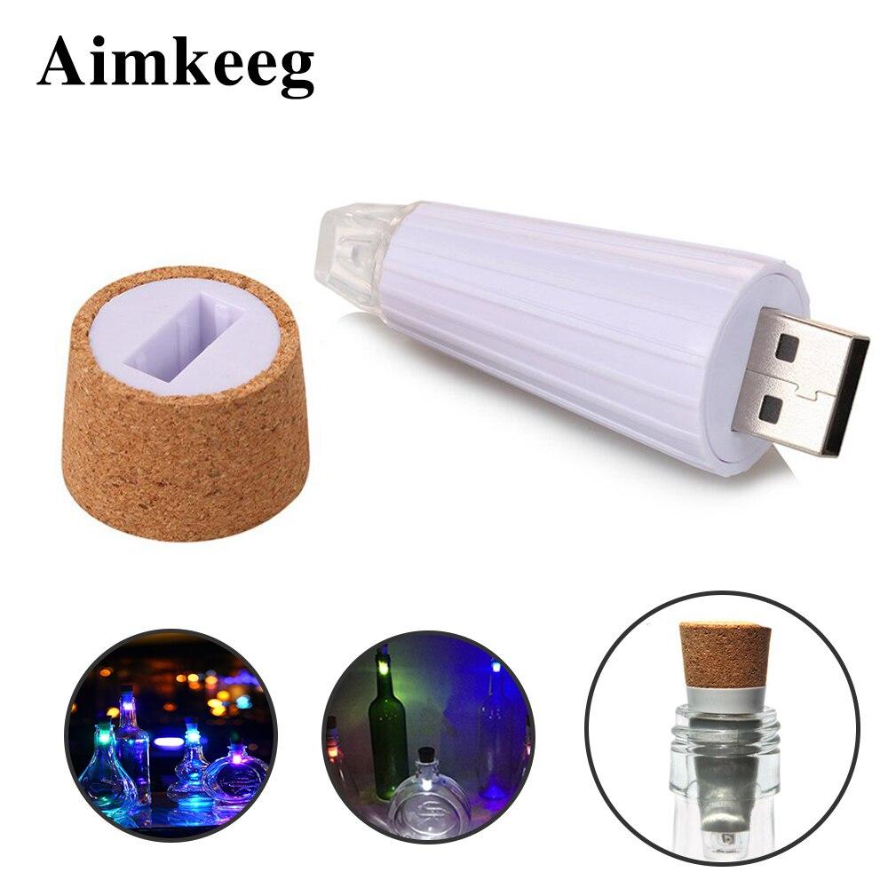 Aimkeeg 1pc USB Rechargeable Bottle Lights Premium Bottle Cap Cork Stopper Lamp Creative Romantic Cork Lights White/Colorful