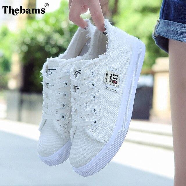 2018 primavera nuevos zapatos de lona Mujer Zapatos Casual mujer moda Lace Up blanco zapatos mujer planos para el tamaño de la señora 35-40