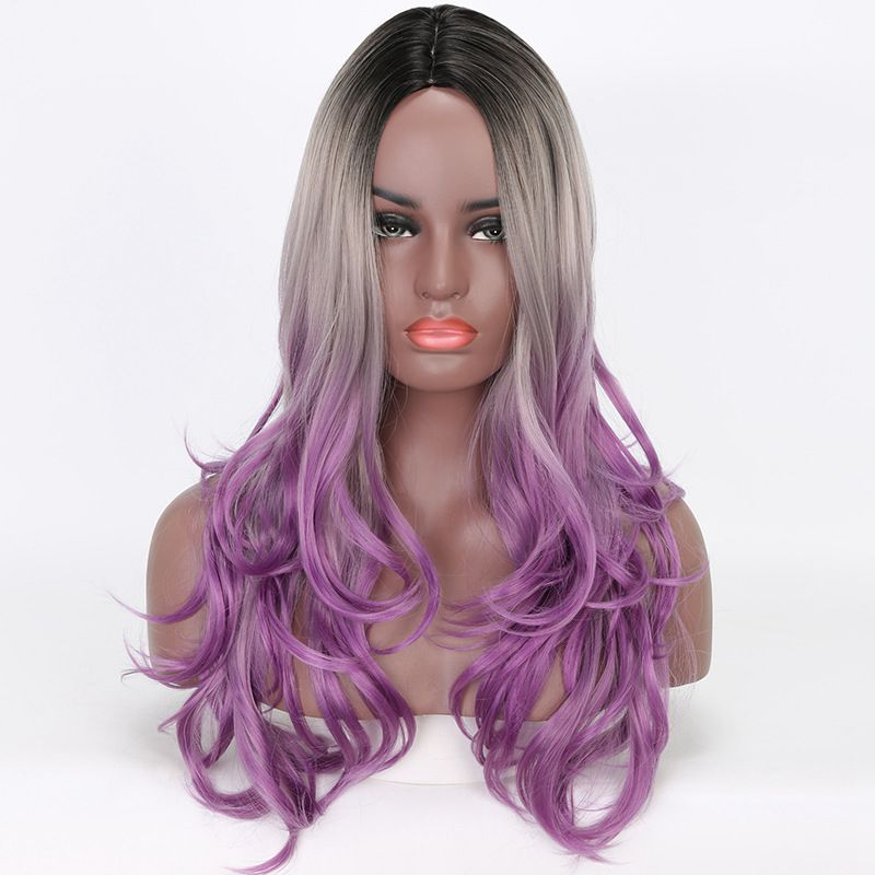 Luxury For Braiding 26 Black Grey Purple 3 Tone Ombre Synthetic Wigs for Women Heat Resistant Fiber Cosplay Wig