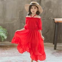 12d2c222f3 2019 nowe letnie dzieci dziewczyny szyfonowa sukienka asymetryczna dzieci  stałe bez ramiączek sukienki dla dziewczynek odzież
