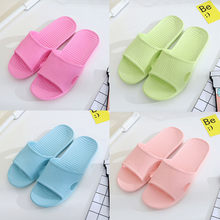 Women Stripe Flat Bath Slippers Summer Sandals Indoor & Outdoor Slippers candy colors bathroom shoes home casual slippers(China)