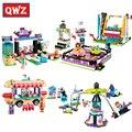 QWZ Elfos Amigos Princesa Serie Espacio Nave Parque Parque De Atracciones bumper cars hot dog van building blocks juguetes de los ladrillos de la muchacha Lepin