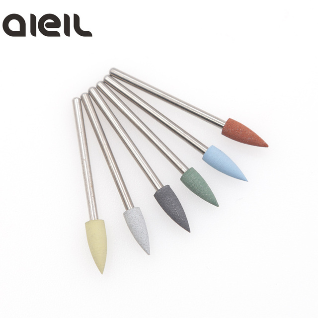 6PCS Silicone Milling Cutter for Manicure Set Nail Drill Bit Set Milling Cutter Nail Milling Cutters for Pedicure Nail Art Tools