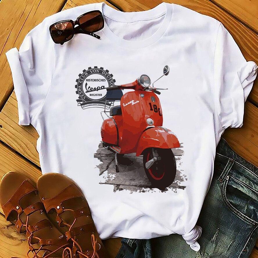 Vespa Art Design Cool T Shirt Men Summer New White Casual Streetwear Homme Tshirt High Definition No Glue Print T-shirt