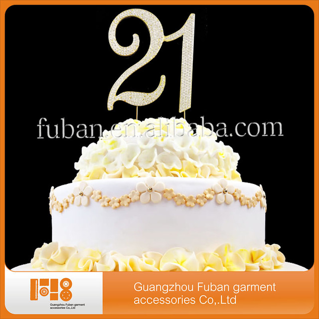Gold Plating Number 21 Crystal Rhinestone Birthday Cake Toppers Free