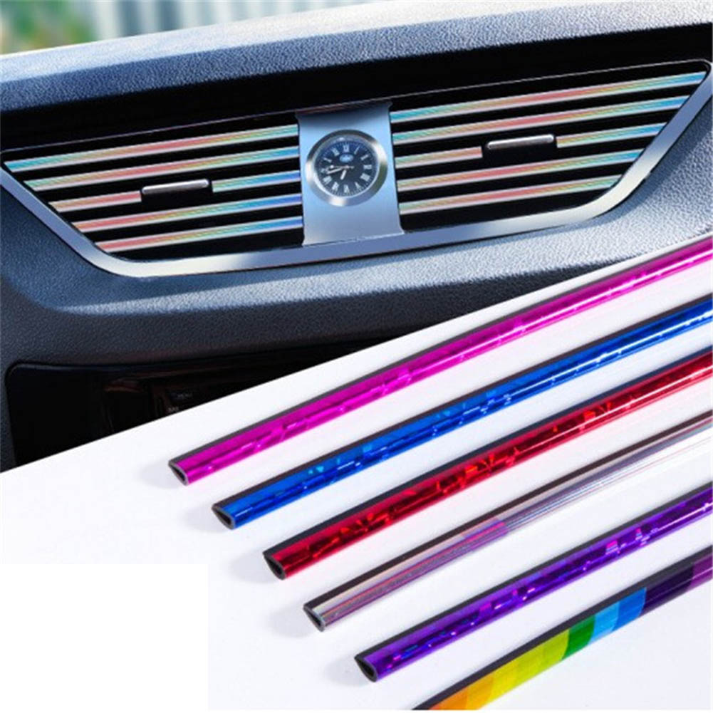 10pcs/Lot Universal Car Styling Interior Strips Air Conditioner Outlet Vent Trim Decoration Strip Brand Sticker Accessories image