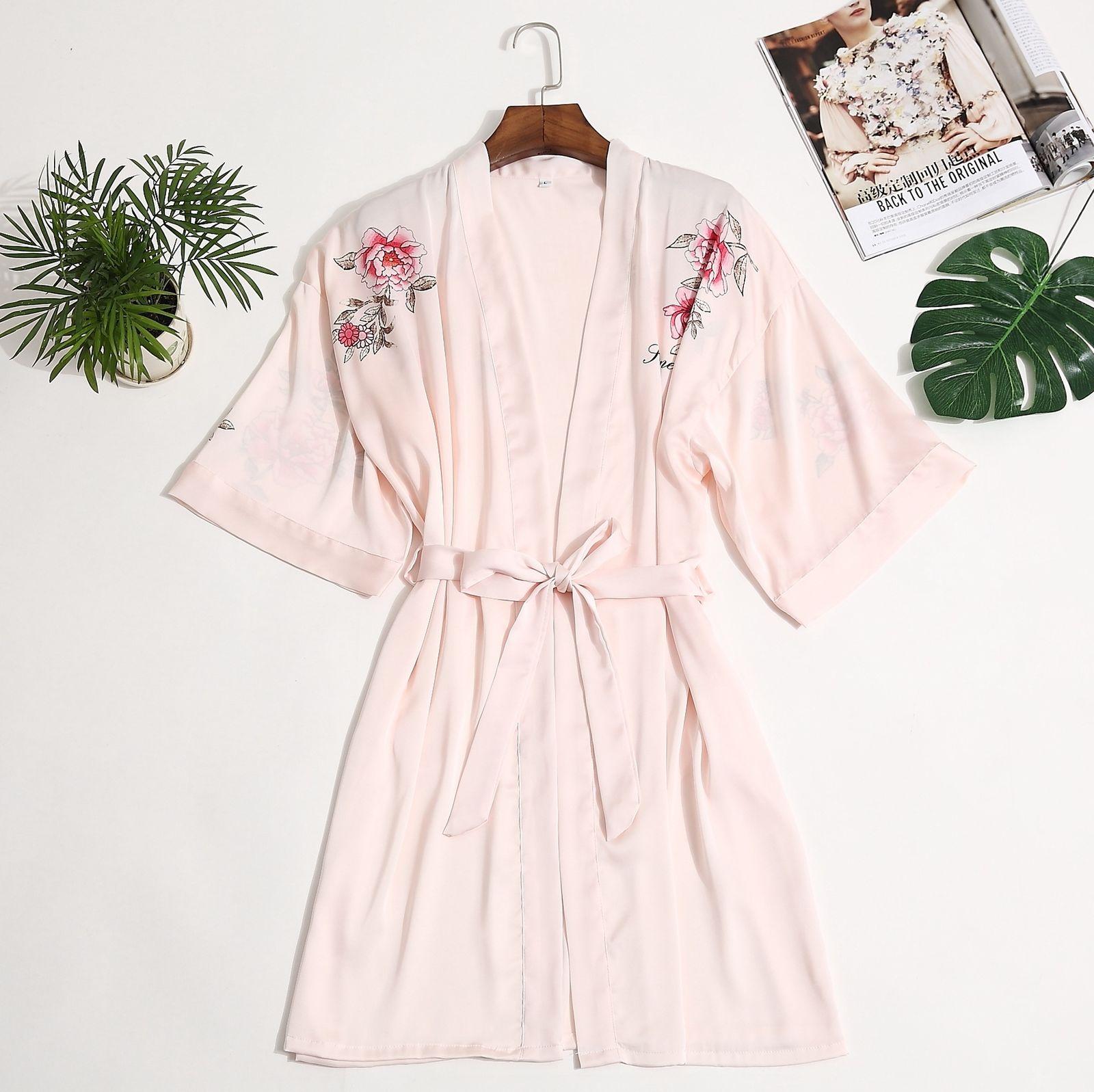 Floral Robe Kimono Women Dressing Gown Half Sleeve Loose Ladies Sleepwear Robes