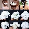 5 unids boda nupcial horquilla blanco Rose Flower Crystal Rhinestone del Pin de pelo Beauty Hair Clip mujeres accesorio de la joyería envío gratis
