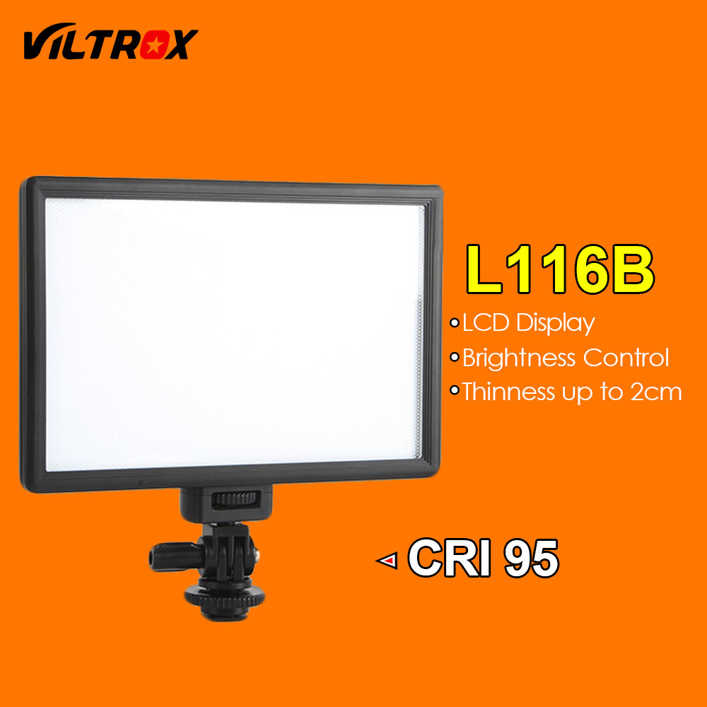 Viltrox L116B Super Slim LCD Display Dimmable Studio LED Video Light Lamp Panel for Camera DV