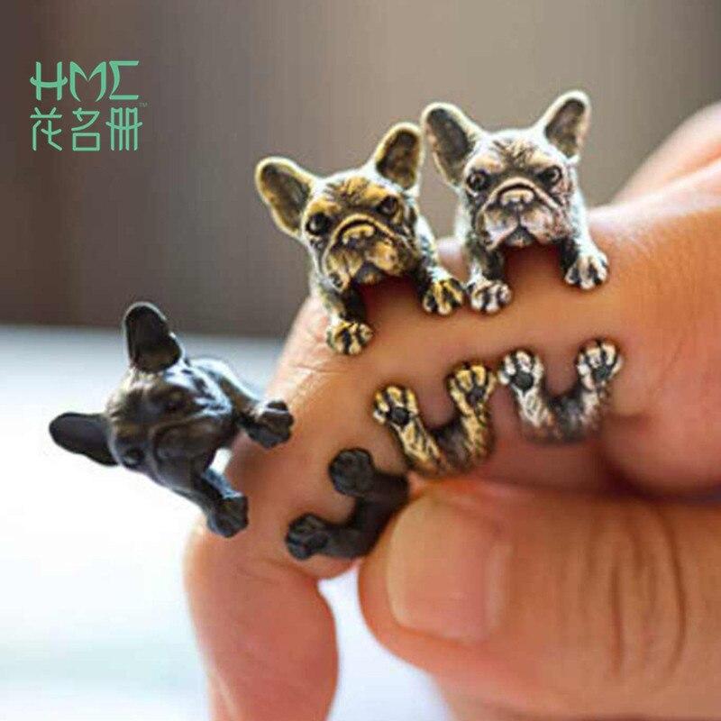 2017 Retro Tier Handgefertigt Französisch Bulldog Ring Mode Antiken Gold Silber Vintage Justierbare Ringe Für Frauen Angenehm Bis Zum Gaumen