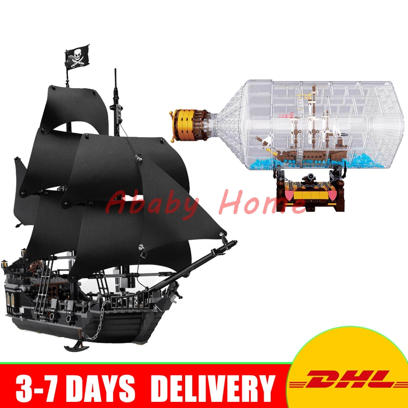 LEPIN Pirates Series 16006 Black Pearl Ship + 16045 The Ship in the Bottle Set MOC Model Building Blocks Bricks Toys Clone 4184 new lepin 16009 1151pcs queen anne s revenge pirates of the caribbean building blocks set compatible legoed with 4195 children