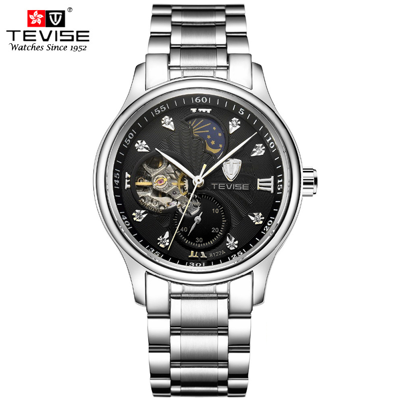 TEVISE Self Winding Watches Men Mechanical Watches Moon Fashion Casual Phase Stainless Steel Automatic Movement Wristwatch 8122A ks golden stainless steel case automatic mechanical movement analog leather strap men self winding casual watches ks172