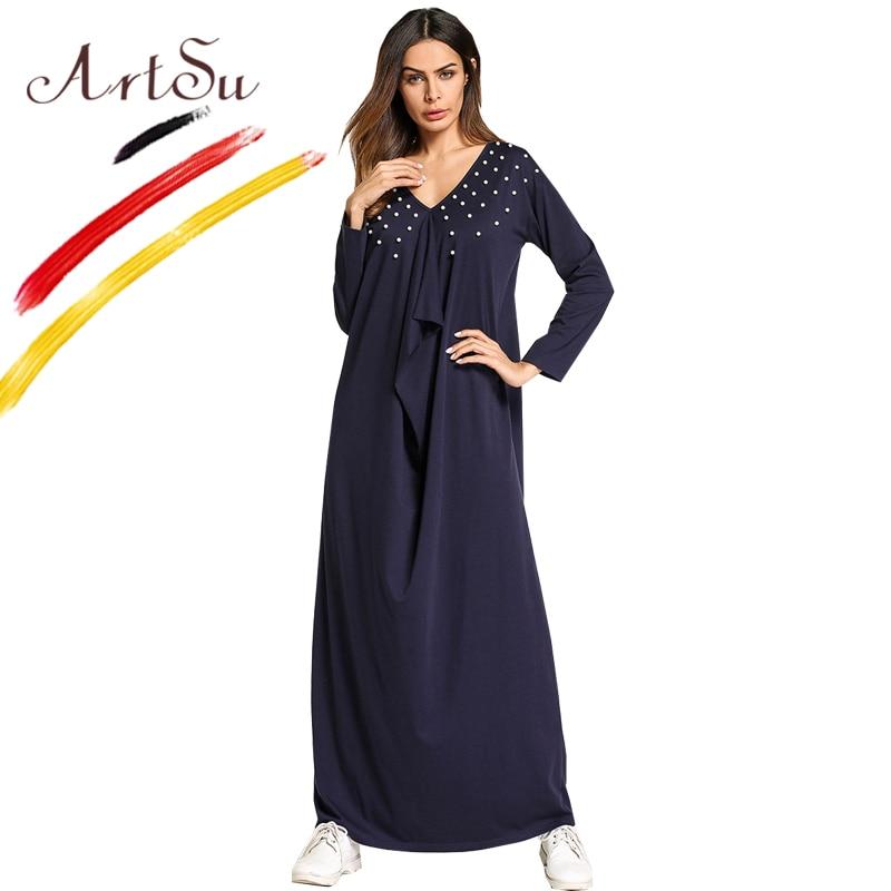 ArtSu Women Cotton Long Sleeve Casual Dress V Neck Pearl Beading Spring Maxi Dress Robe Femme Nave Blue Vintage Dress Plus Size