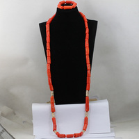 2017 Christmas Gift Fascinating Nigerian Wedding Coral Beads Jewelry Set Most Popular Handmade Necklace Set Free Shipping ABL669