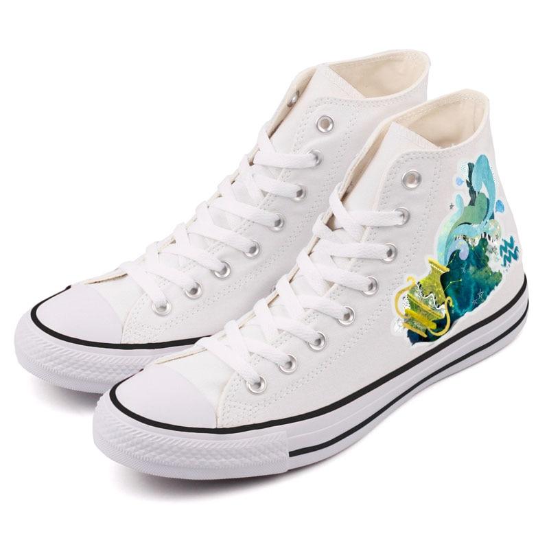 Style Marche Harajuku 0000 t Coloré Verseau Chaussures Toile Horoscope Du ziv03h ziv03 Signe Graffiti De Occasionnels Main Zodiaque t Conception Peinture ffEq6F