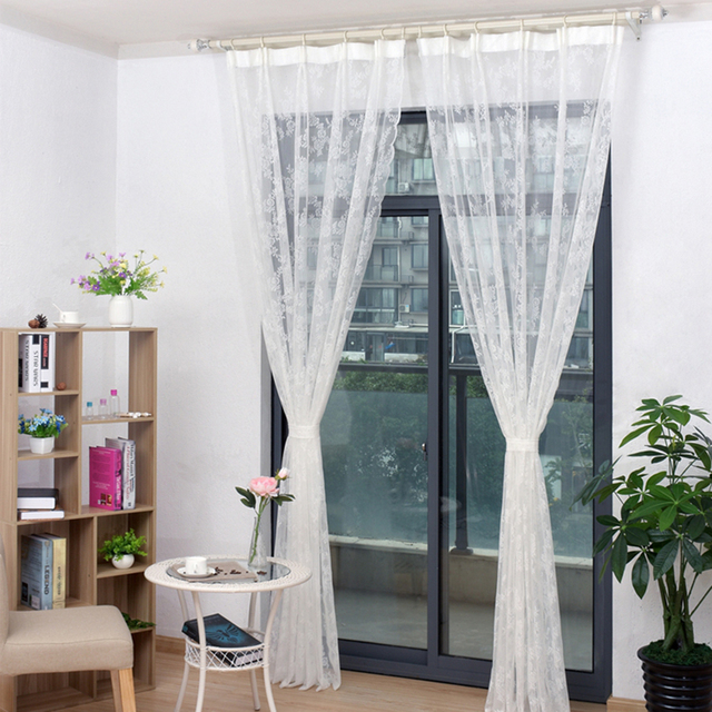 Home Lace Flower Pattern Sheer Curtain Drape Bedroom Decoration Window  Curtain