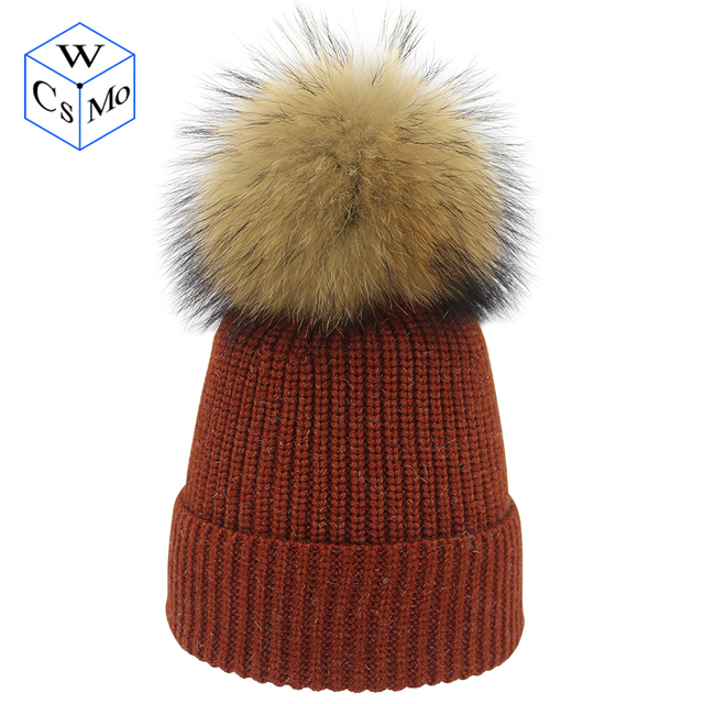 00dc17a215c New Flashing silk knitted hat natural color True fur pompom hat young woman  Personalities skullcap Prevent cold   keep warm hat