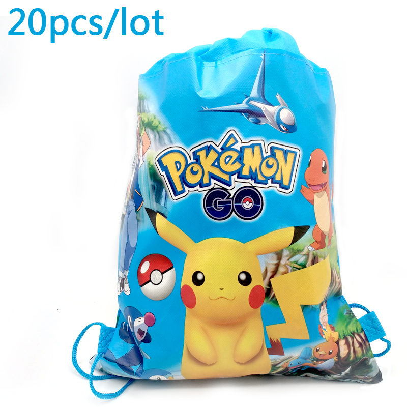 20PCS Boys Favors Decoration Birthday Party Cartoon Pikachu Drawstring Gifts Bags Baby Shower Mochila Pokemon Go Design Backpack