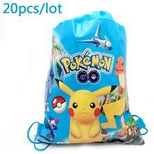 240821d0a56 20 piezas niños favores fiesta de cumpleaños Pikachu cordón regalos bolsas  Baby Shower Mochila Pokemon Go Mochila de diseño