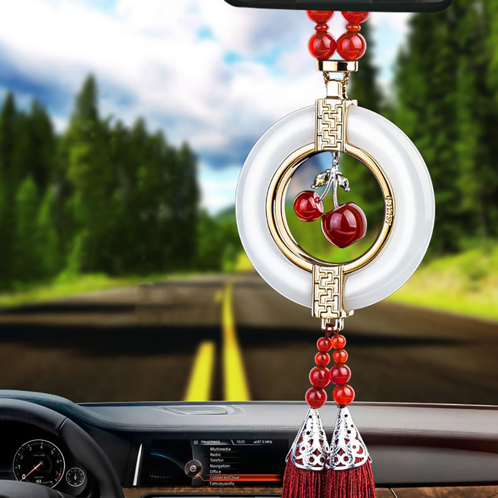 Car Pendant High Quality White Jade Red Agate Gourd Decoration Hanging Suspension Ornaments With Tassel For Auto Rearview Mirror