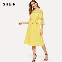 SHEIN Romantic Yellow Guipure Contrast Lace Panel Pearl Beading Belted Dress 2019 Spring Flounce Sleeve Elegant Dresses