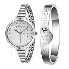 Clássico Mulheres Senhora Pulseira Strass Relógio de Pulso de Quartzo + Pulseira de Aço Inoxidável