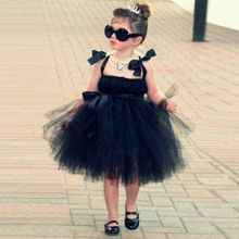 New Beauty Bridal Ball Gown Robe Ceremonie Fille Black Flower Girl Dress Prom Kids Short Pageant Dresses For Grils Wedding Party