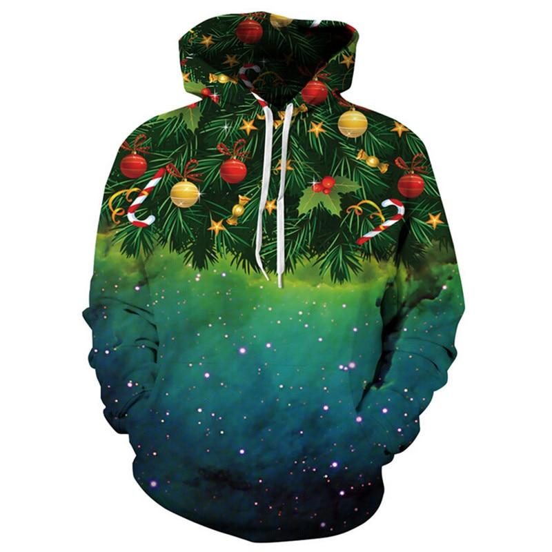 [EL BARCO] 3D Colorful Christmas Men Women Sweatshirts Hooded Cotton Long Sleeve Slim Male Hoodies Casual Winter Pullover Coats