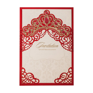 Image 4 - [Princess Dream] 20Pcs/Lot Pink & Red Foil Crown Laser Cut Wedding Invitation, Invitation Card with Envelopes for Quinceanera