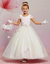 Pretty Ball Gown Short Sleeves Flower Girl Dresses 2017 White Lace Long Pageant Dresses For Kids For Wedding Party M2636