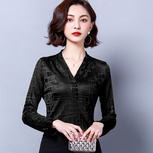 PYH41938 Summer Korean Style OL Fashion V Neck Slim Fit Chiffon Shirt