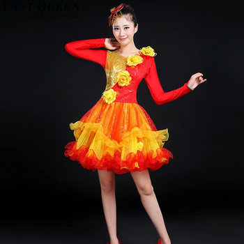 Stage dance wear Chinese folk dance costume clothing national ancient fan dance traditional Chinese dance costumes KK794