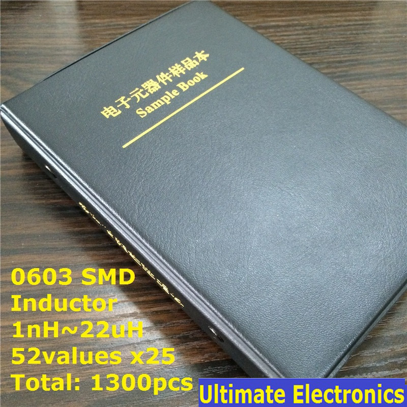 0603 SMD SMT Chip Inductor Assorted Kit 1nH~22uH 52Valuesx25 Sample Book 1300pcs