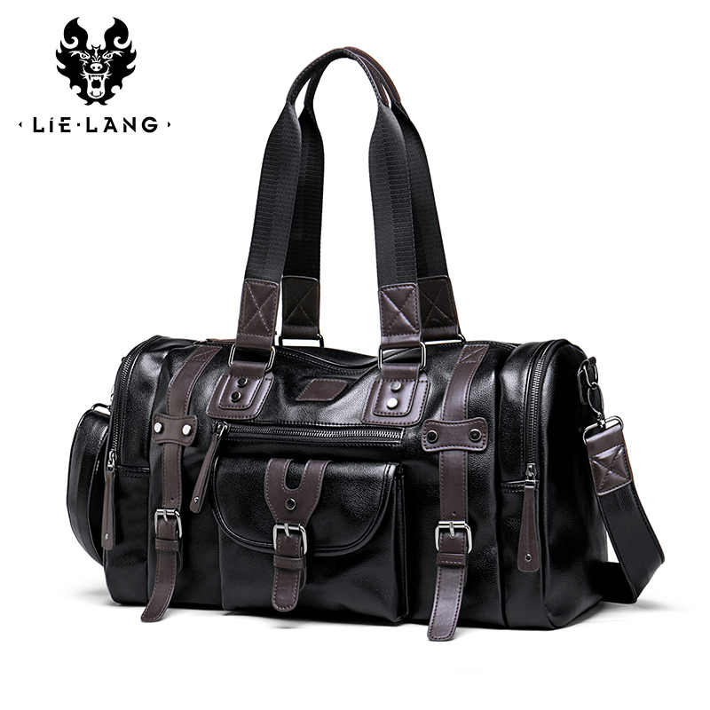 LIELANG Travel Bag Men's Handbag Men's Sports Fitness Bag Leisure Travel Tourism Large Capacity Leather Handbag Bag Tide