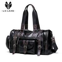 LIELANG Travel Bag Men's Handbag Men's Sports Fitness Bag Leisure Travel Tourism Large Capacity Leather Handbag Bag Tide