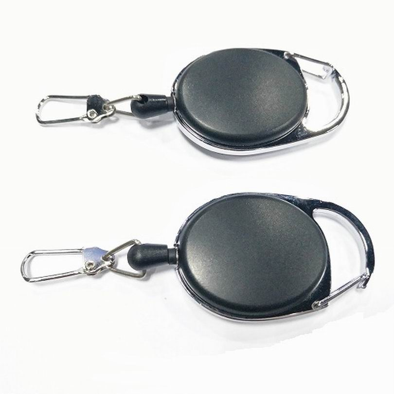 Wholesale 500PCS Retractable Pull Badge Reel Zinc Alloy ABS ID Lanyard Name Tag Card Badge Holder Reels Recoil Belt Clips