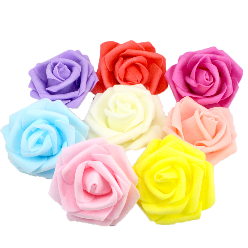 10pcs/lot Diameter 6cm Multicolor Artificial Foam rose head Use For Wedding Decoration DIY Wreaths Craft Gift 027017056