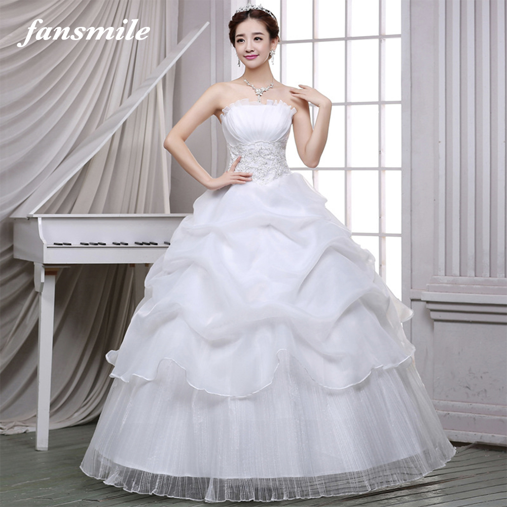 Fansmile Vestido De Noiva Korean Lace Up Ball Gown Wedding Dresses 2019 Customized Plus Size Bridal Dress Real Photo FSM-597F