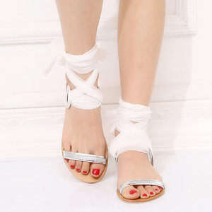 Image 4 - Gladiator Front Rear Strap  Women Gladiator Flat Sandals Leisure Solid  Summer Beach Sandals Lace Up  Rome Shoes