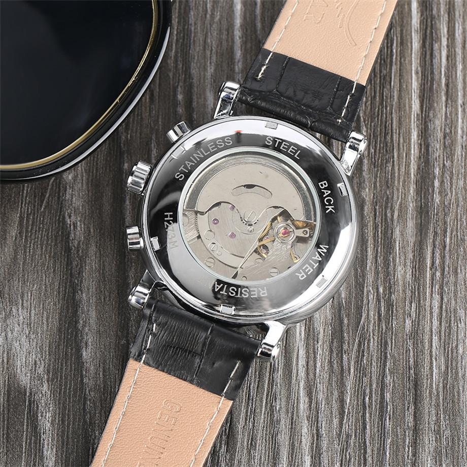 JARAGAR black genuine leather band mechanical watch men12
