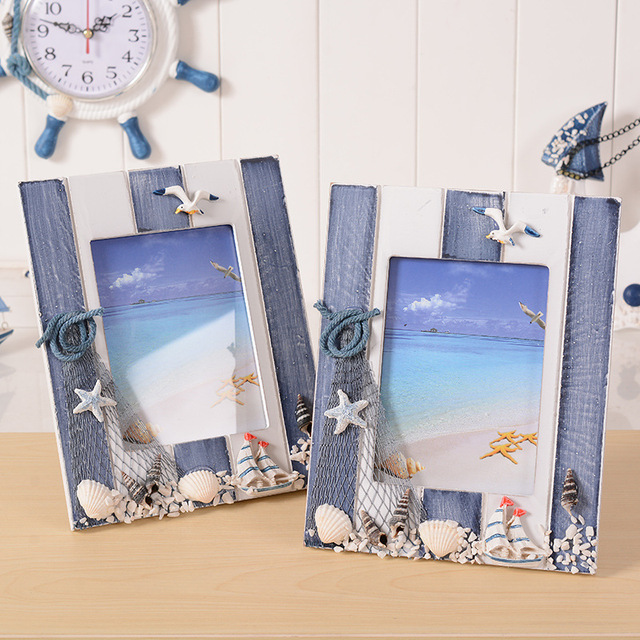 5 Inch Home Decorative Frame Vintage Style Marine Square Wood Picture Frame Display Life Gift Craft cadre en bois Photo Frame