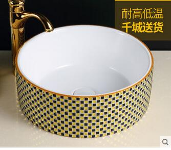 Customize the stage basin Circular art ceramic POTS Rural sink lavatory basin bathroom basin that wash a face in Bathroom Accessories Sets from Home Garden