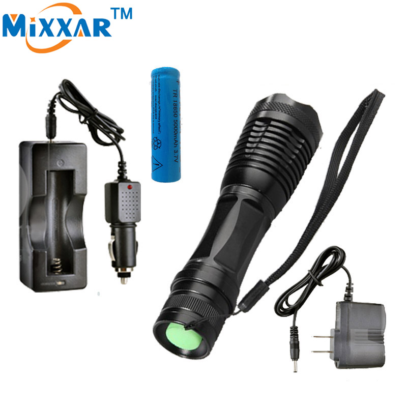 RUzk10 LED flashlight 8000 LM XM-L T6 Torch Zoomable led flashlight with AC charger + battery + car charger cree xm l t6 bicycle light 6000lumens bike light 7modes torch zoomable led flashlight 18650 battery charger bicycle clip