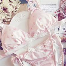 My Melody, розовый молочный Шелковый японский бюстгальтер и трусики, комплект с бантиками, беспроводное мягкое нижнее белье, нижнее Белье для сна, милый комплект Лолиты