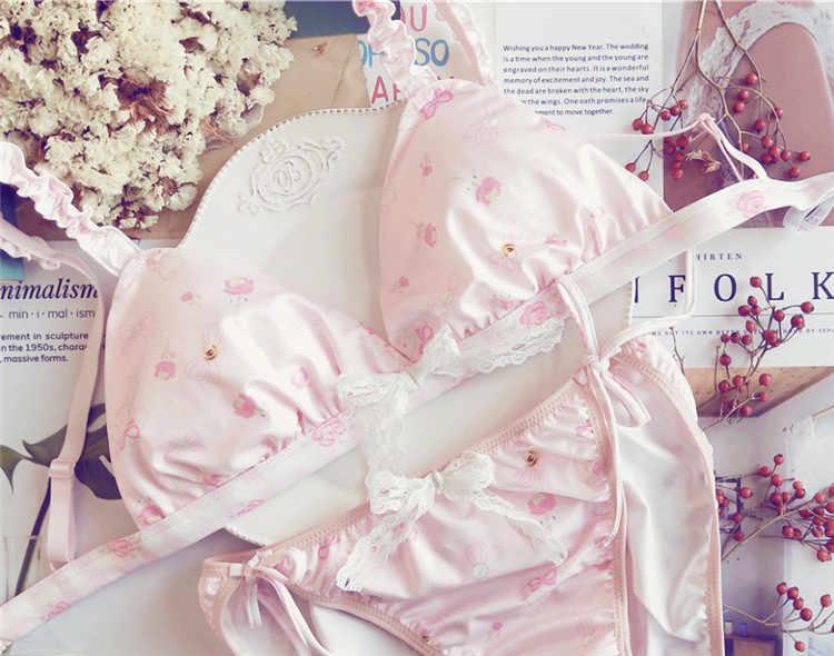 20286c1832 My Melody Pink Milk Silk Japanese Bra   Panties Set Bows Wirefree Soft  Underwear Sleep Intimates