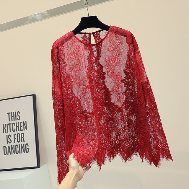 6a1886af3 Oferta Mulher blusa de renda Sexy ver através red wine top camisas